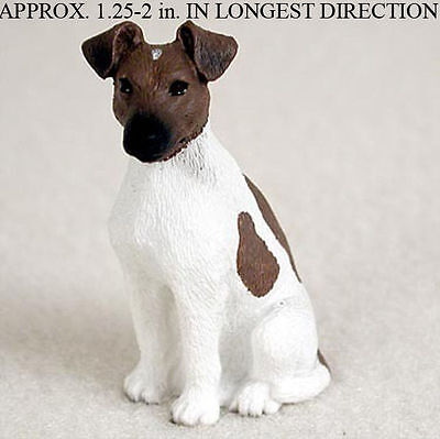 Fox Terrier Mini Resin Hand Painted Dog Figurine Brown/White