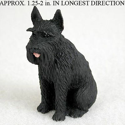 Schnauzer Mini Resin Hand Painted Dog Figurine Black Giant
