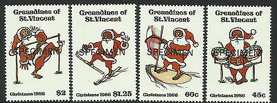 ST VINCENT 1986 FATHER CHRISTMAS SPECIMEN OPT Set 4 MNH