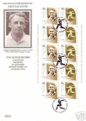 Bradman Australia Cricket Tribute Sheetlet Fdc