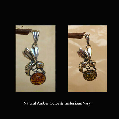 BALTIC HONEY or GREEN AMBER & STERLING SILVER BEE SHAPED PENDANT