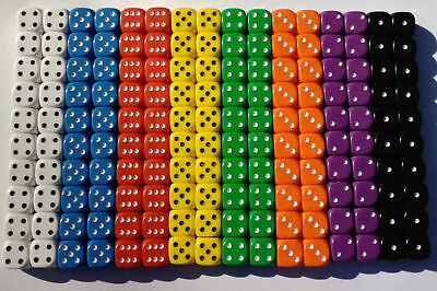 20 of Opaque Six Sided Spot Dice, size 16mm - D6 RPG -  Game Dice - Wargaming