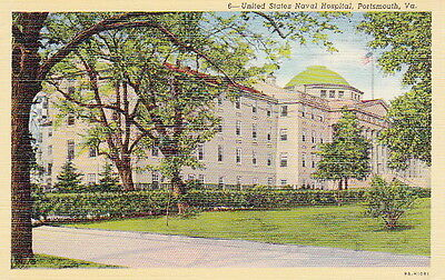 U.S. NAVAL HOSPITAL PORTSMOUTH VIRGINIA - 1943 Dated WW2 LINEN POSTCARD