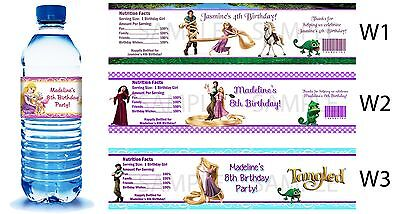 Tangled Princess Rapunzel ~ Printed Water Bottle Labels ~ Birthday Party Favors