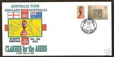 GB ASHES 2001 SMILERS STAMP 1st CRICKETTEST MATCH COVER