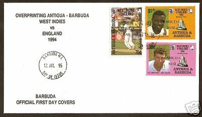 Barbuda Mailopt 1994 Centenary English Cricket Tour Fdc