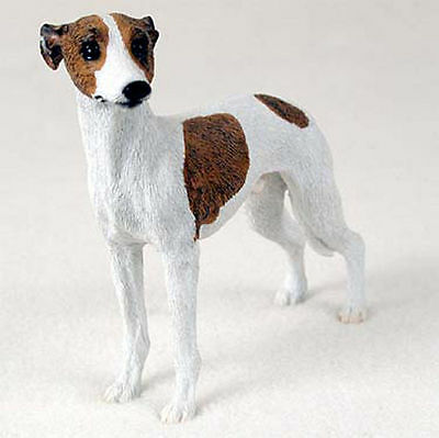 Whippet Hand Painted Collectible Dog Figurine Brindle & White