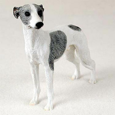Whippet Figurine Hand Painted Collectible Statue Gray & White