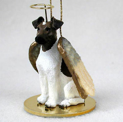 Fox Terrier Ornament Angel Figurine Hand Painted Brown/White