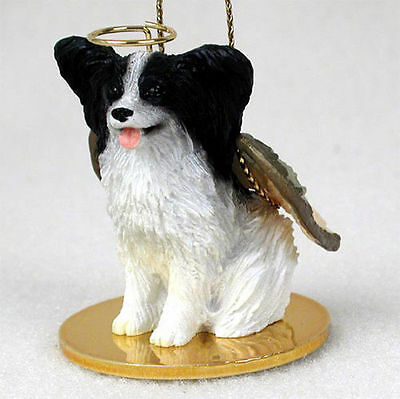 Papillon Dog Figurine Angel Statue Black & White