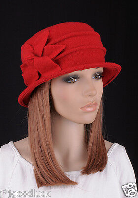 Wool Elegant Lady Women s Warm Winter Hat Beanie Cap 6-Leaf Flower RED 7ba45a53f4cc