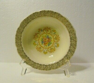 W.s.george  Sauce Fruit Berry Bowl  Canarytone Lido Gold Filigree  Floral