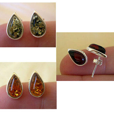 BALTIC CHERRY, HONEY or GREEN AMBER & STERLING SILVER TEARDROP STUD EARRINGS