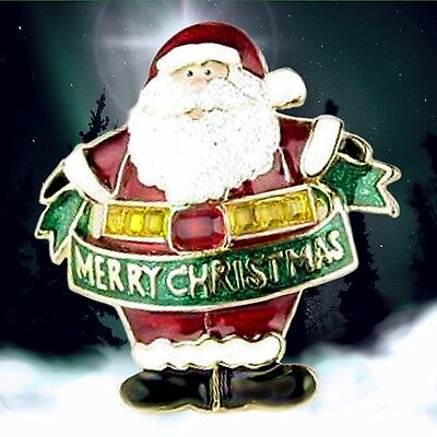 14Kgp QUALITY HANDCRAFTED BLINKING SANTA PIN --  I say MERRY CHRISTMAS darn it!!