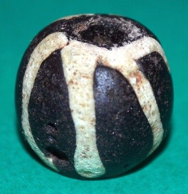 Ancient Black Excavated Islamic Glass Bead W/ White Stripes Mali, African Trade