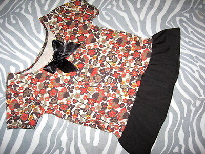 Baby Girls  Black,brown,rusts autumn colours floral  Frilled T-shirt