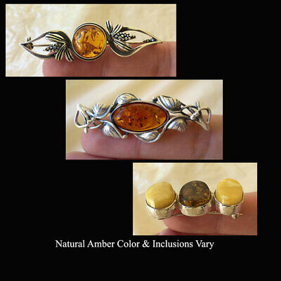 BALTIC HONEY or MULTICOLOR AMBER & STERLING SILVER HANDMADE BROOCH PIN
