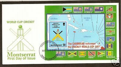 MONTSERRAT 2007 ICC CRICKET WORLD CUP Souv Sheet FDC