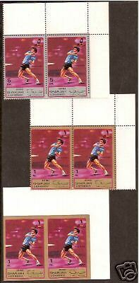 SHARJAH 1972 TABLE TENNIS 3 diff. CORNER PAIRS MNH