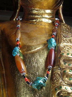 Tibetan Mixed Bead Necklace Turquoise Carnelian Coral