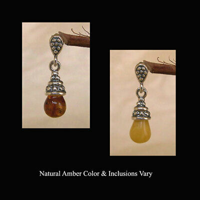 BALTIC HONEY or WHITE AMBER & STERLING SILVER TEARDROP PENDANT CHARM