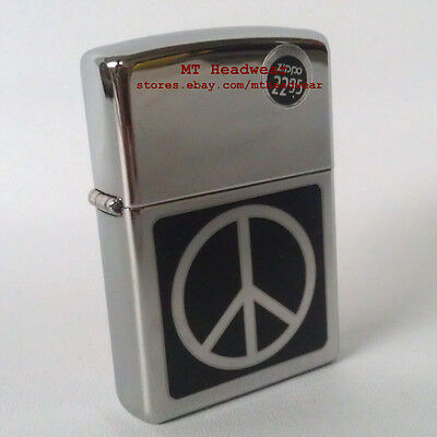ZIPPO PEACE SIGN HIGH POLISH CHROME WINDPROOF LIGHTER 91439