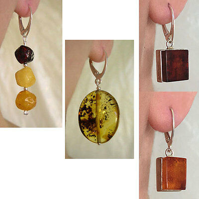 Baltic Amber & Sterling Silver Handmade Modern Leverback Earrings