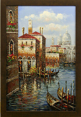 Italy River Canal Gondola Boats Buildings Venice City Art - FRAMED OIL PAINTING