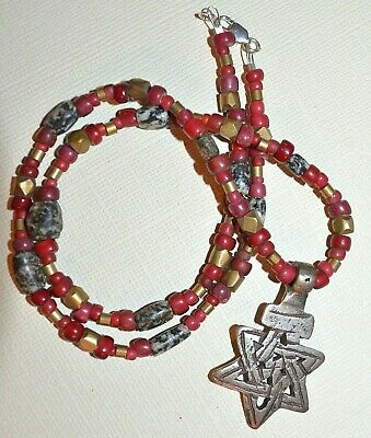 Ethiopian Star Of David Necklace, Red White Hearts Ancient Granite African Brass