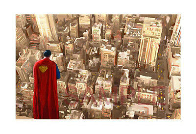 Superman Over Metropolis Painting Canvas Print Movie Poster Giclee Artist Signed