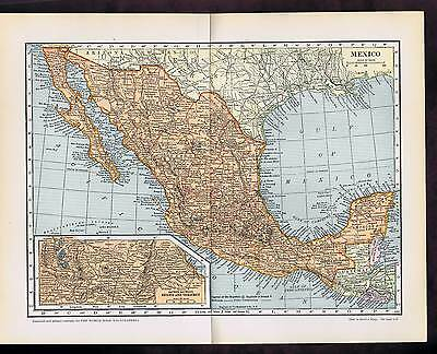 MEXICO Vintage COLOR Engraved Country MAP