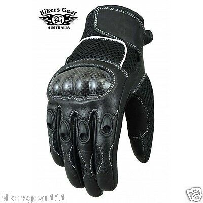New Summer Tech Mesh Leather Motorcycle Cruiser Biker Carbon Protection Gloves