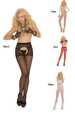 Black White Nude Red Lingerie Sheer Crotchles Pantyhose O/s S - L