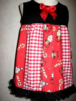 NEW Baby Girls Xmas Santa,candy Cane  Patchwork Top/Dress Gift