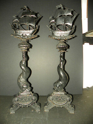 Pair Of Large Cast Bronze & Iron Andirons W/ Ships & Wrap Tailed Dolphins (4611)