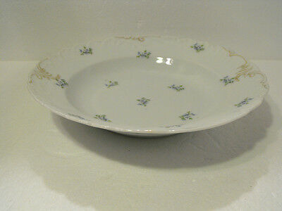 Carlsbad Austria China  Serving Bowl Scalloped Embossed Edge Hand Painted Gold