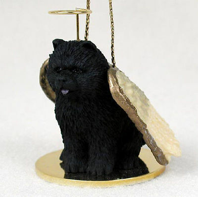 Chow Chow Dog Figurine Angel Statue Black