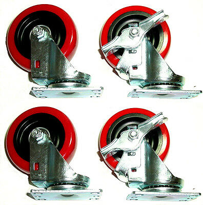 "Set of 4 Red on Black Polyurethane Swivel Casters with 4 x 1-1/4"" Wheel 2 Brakes"