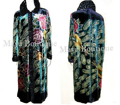 Silk Velvet Opera Coat Duster Black Multi Peacock Design Wearable Art Long 2X 3X
