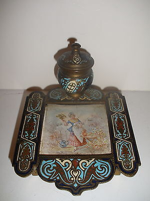 Antique French Champleve Enamel Bronze Gilt Inkwell W/ Painting Victorian Woman