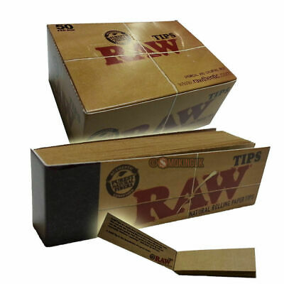 50 RAW Unbleached Card Filter Tips Roach 100% Chlorine & Chemical Free FULL BOX