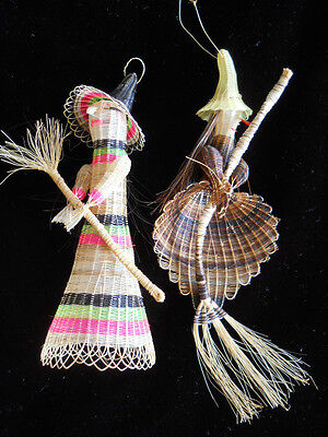 Rare Vintage  Old Witch Ornaments hand woven basket weave Tight weave Halloween