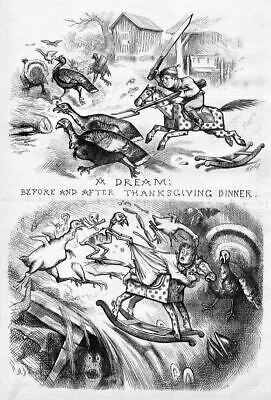Turkey Dream Before And After Thanksgiving Dinner By Thomas Nast, Turkey Print