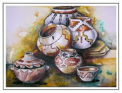 "Blank Notecard - ""UNTITLED"" NATIVE AMERICAN POTS - art by Rebecca Kennedy!"