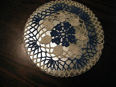 Collectible Handmade Crocheted Trivet & Cover Off White Blue NICE