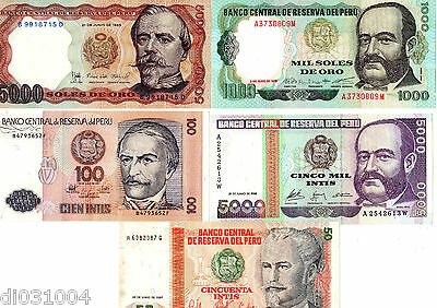 LOT (2) SET SERIE 5 Billets DIFFERENTS Perou PERU NEUF UNC