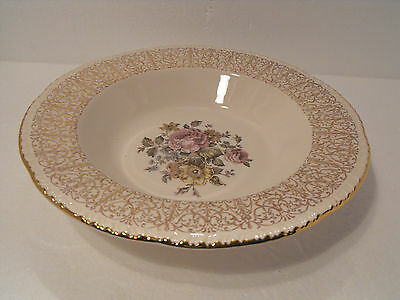 Homer Laughlin   Soup Cereal Bowl Floral Gold Filigree   L 50 N 6  U.s.a.