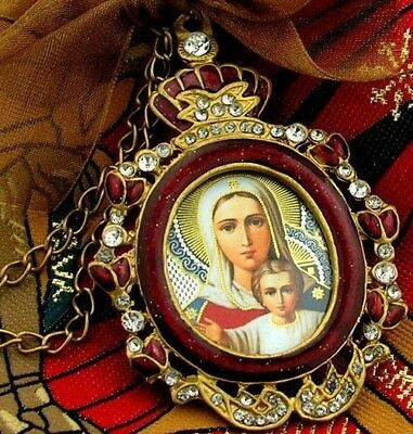 Jeweled Russian Icon Pendant Madonna with Child Christ Medal Chain Bow Gift