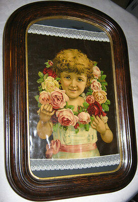 Victorian Antique Wood Art Girl Child Flower Print Glass Picture Rose Lace Frame