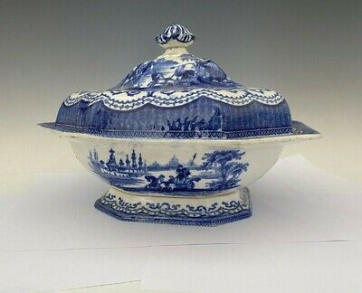 "Nice! Antique Adams Blue Transfer ""Damascus"" Covered Vegetable Dish"